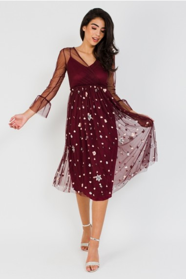 Lace & Beads Embellished Frill Sleeve Burgundy Midi Dress