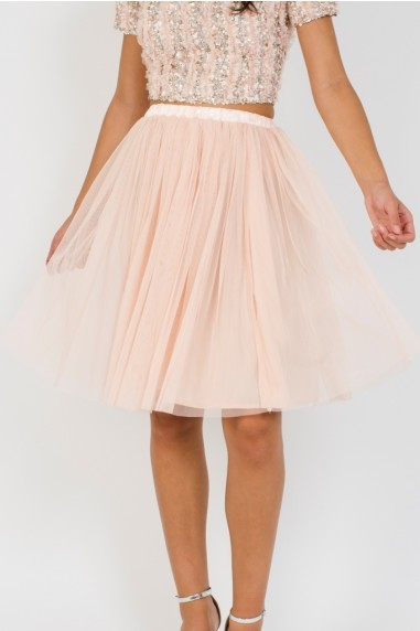 Lace & Beads Nude Tulle Midi Skirt
