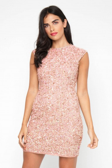 Lace & Beads Teardrop Mink Sequin Dress