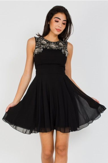 Lace & Beads Asha Black Mini Dress