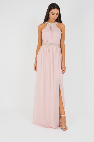 TFNC Aileen Pearl Pink Maxi Embellished Dress