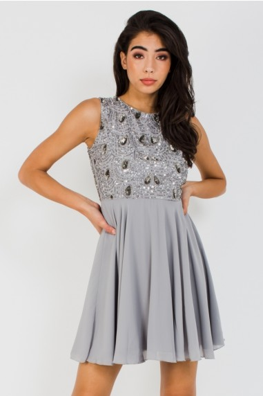 Lace & Beads Fionas Skater Embellished Grey Dress