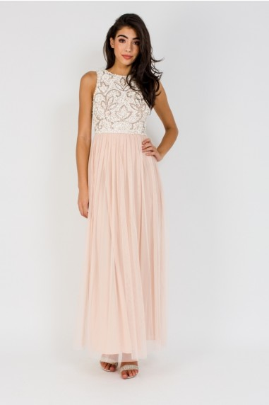 Lace & Beads Celine Nude Maxi Dress