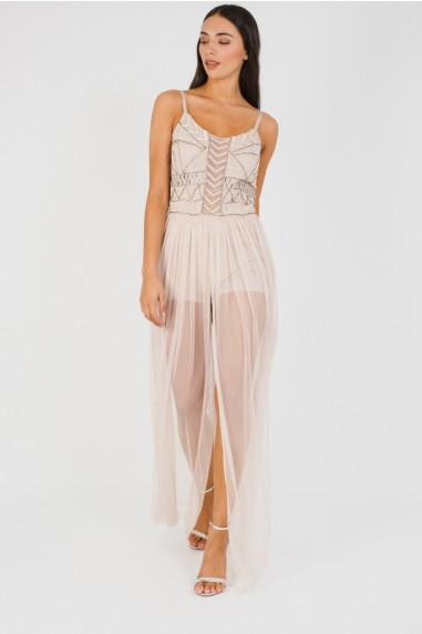 Lace & Beads Pihu Nude Maxi Dress