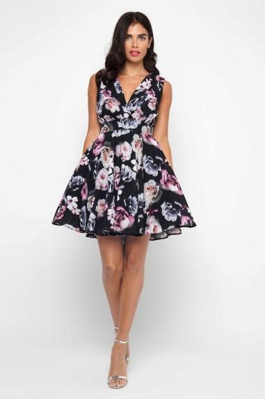 TFNC Nordi Black Floral Mini Dress