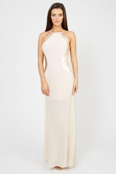 TFNC Sofia Nude Sequin Maxi Dress