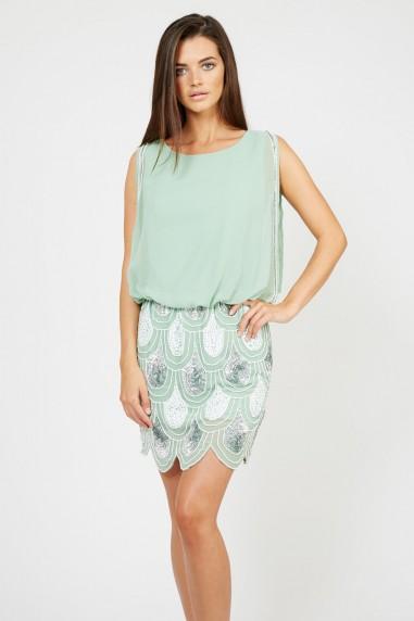 Lace & Beads Sharon-Angela Green Embellished Dress