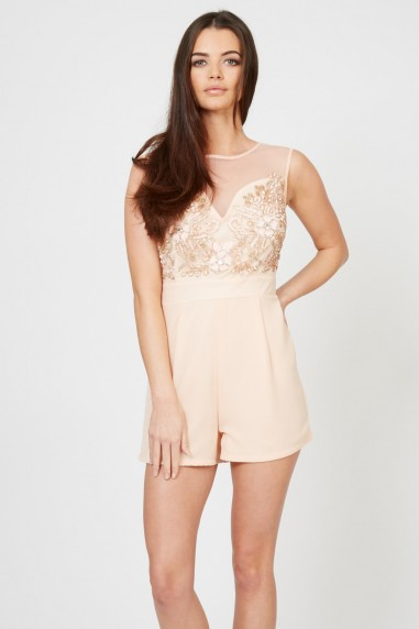 TFNC Aniston Pink Embellished Playsuit