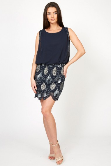 Lace & Beads Sharon-Angela Navy Embellished Dress