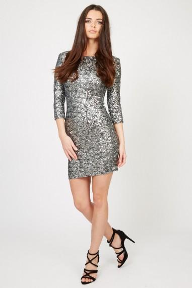 TFNC Paris Silver Sequin Dress