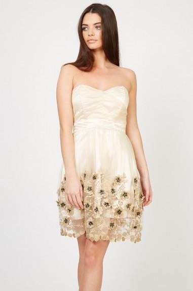 TFNC Lila Flowers Gold Dress