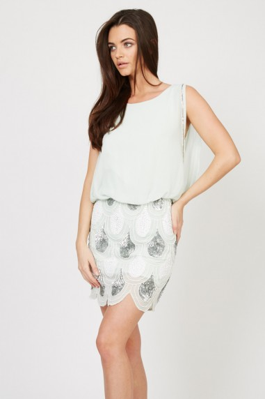 Lace & Beads Sharon-Angela Mint Embellished Dress