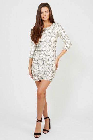 TFNC Paris Geometric White Sequin Dress