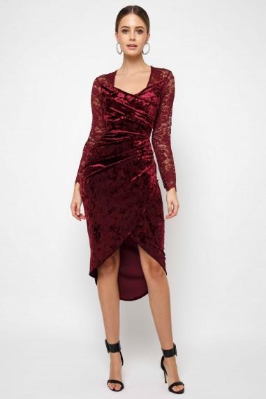 TFNC Amela Velvet Burgundy Midi Dress