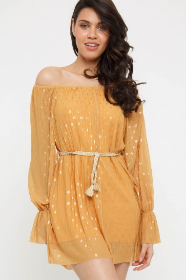 TFNC Lalyna Mustard Tunic Mini Dress
