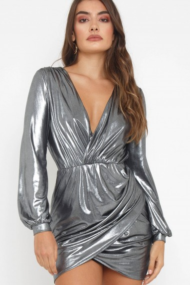 TFNC Judith Grey Foil Mini Dress