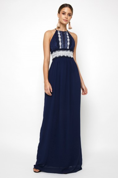TFNC Getta White/Navy Maxi Dress