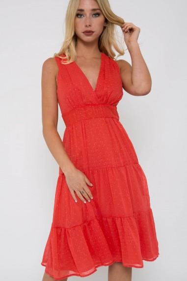 TFNC Roselina Coral Midi Dress