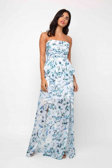 TFNC Sharai Blue Floral Maxi Dress