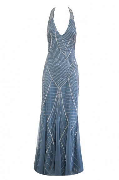 Lace & Beads Mabel Blue Maxi Embellished Dress