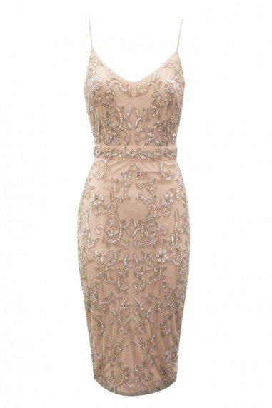 Lace & Beads Fiona Embellished Nude Midi Dress