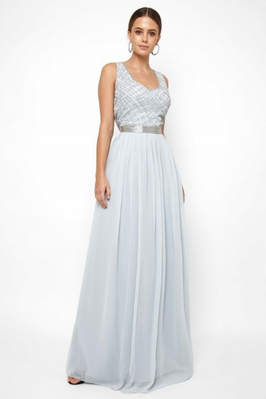 Lace & Beads Shae Sky Blue Maxi Dress
