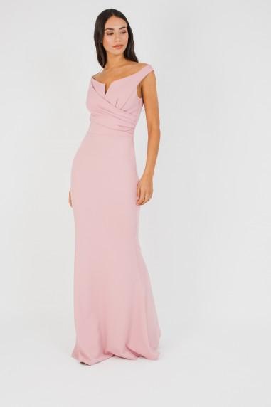 WalG Off Shoulder Pink Maxi Dress