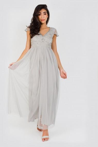 Lace & Beads Nemesia Embellished Grey Maxi Dress