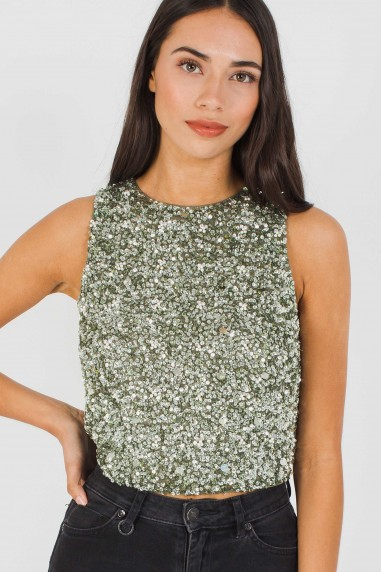 Lace & Beads Picasso Khaki Sequin Top