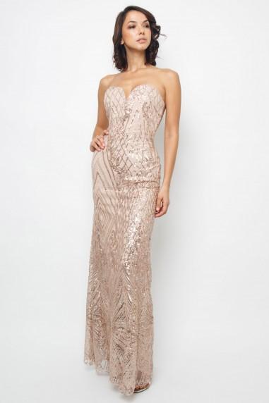 TFNC Gaynor Rose Gold Sequin Maxi Dress