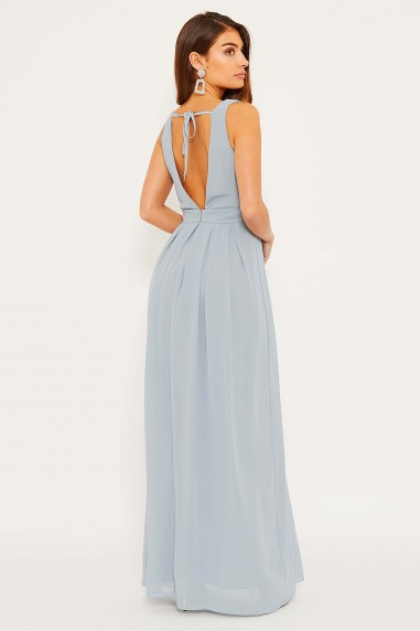 TFNC Kesha Grey Blue Maxi Dress