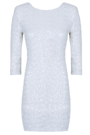 TFNC Paris White Sequin Dress