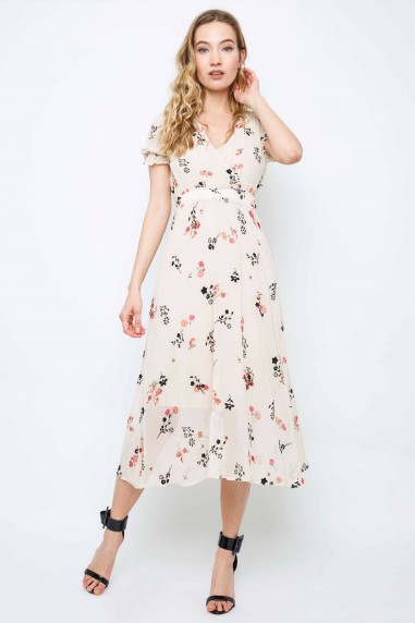 TFNC Mailla Floral Cream Midi Dress