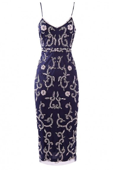 Lace & Beads Fiona Embellished Navy Midi Dress