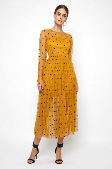 Lace & Beads Lola Mustard Midi Dress