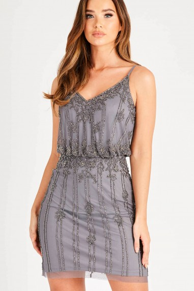 Lace & Beads Keeva Dark Grey Mini Dress
