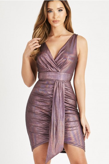 Skirt & Stiletto Sofia Purple Metallic Mini Dress With Front Panel