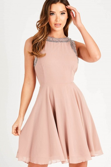Lace & Beads Dunya Mauve Skater Mini Dress