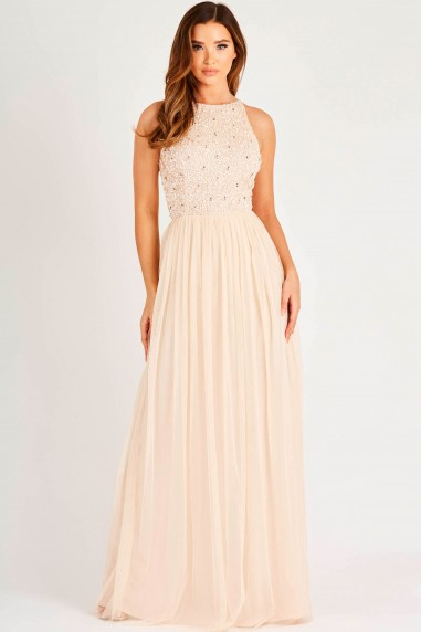 Lace & Beads Kahlo Nude Embellished Maxi Dress