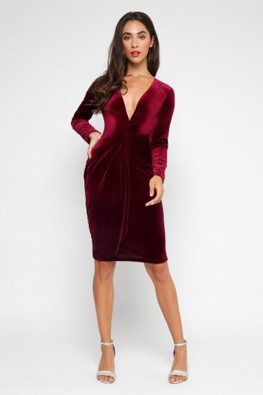 TFNC Tessa Velvet Burgundy Midi Dress
