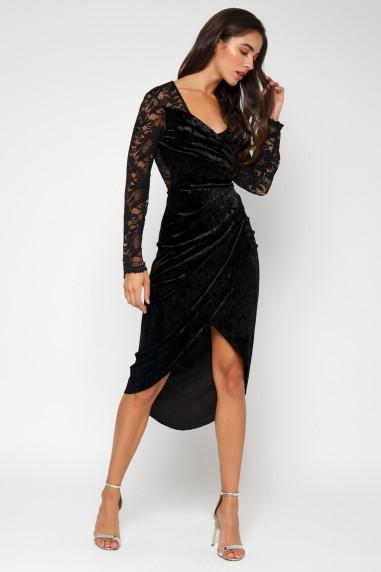 TFNC Amela Velvet Black Midi Dress