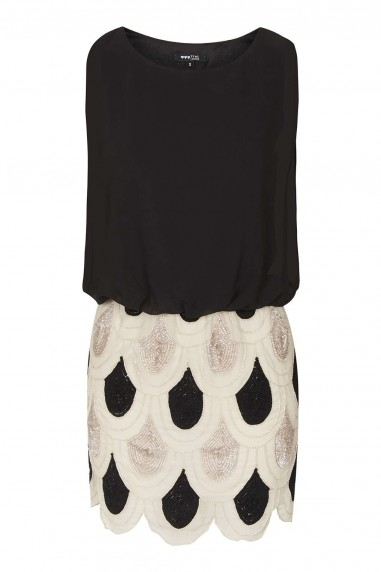 Lace & Beads Sharon Angela Black & Cream Embellished Dress