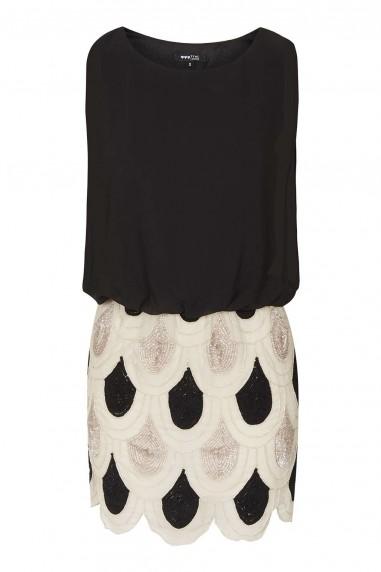 Lace & Beads Sharon Angela Black & Cream Embellished Dress