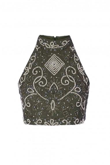 Lace & Beads Paula Khaki Top