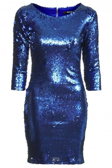 TFNC Paris Matte Blue Sequin Dress