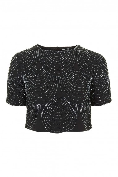 Lace & Beads Opal Black Top