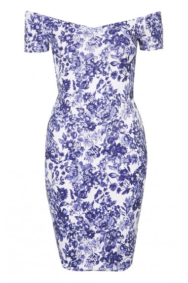 TFNC Shela Floral Blue Dress