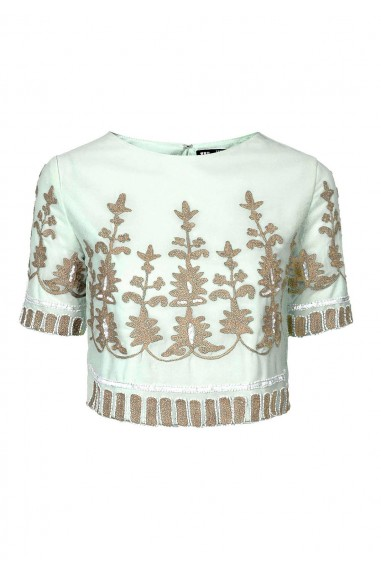 Lace & Beads Poppy Mint Top