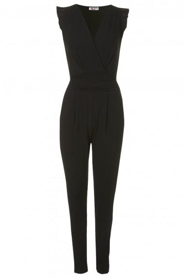 WalG Pleated Sleeve Black Jumpsuit