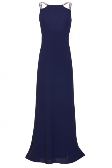 TFNC Riva Navy Maxi Embellished Dress
